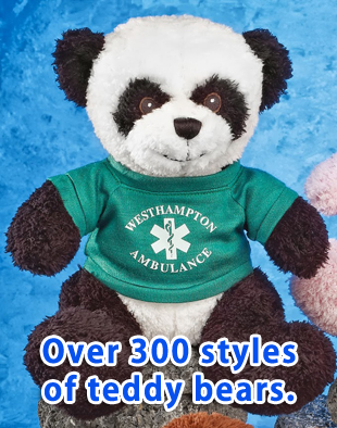 "10"" Elrud Panda Bears with green t-shirt with white colored imprint."