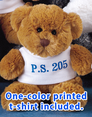 "6"" Jamie Bear with white colored t-shirt with blue imprint."