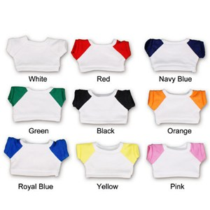 White t-shirts with colored sleeves.