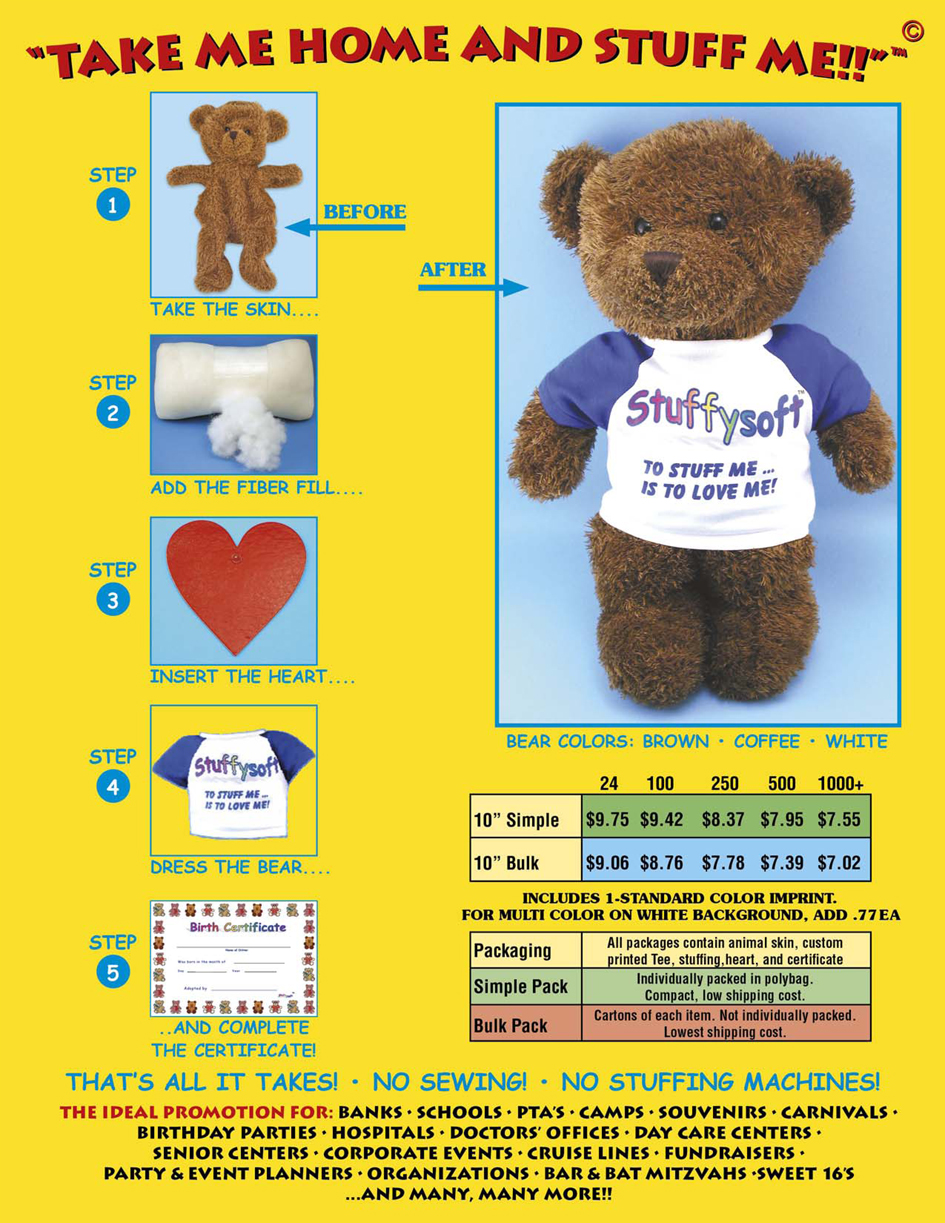 Bears that you build yourself. Stuff your own teddy bear and dress it with a personalized t-shirt.